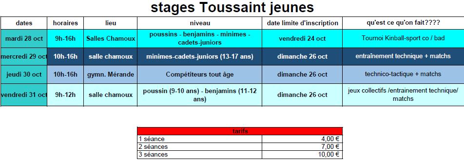 Stage jeune toussaint