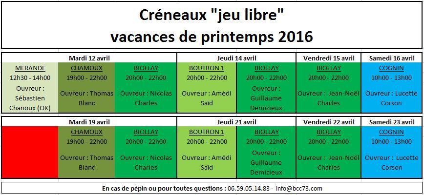 Creneaux BCC73 Printemps2016