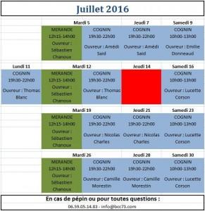 créneaux juillet 2016
